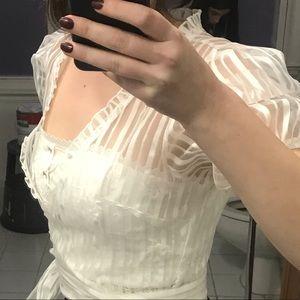 Forever 21 Tops - White Sheer Wrap Around Blouse